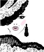 22305071-ragazza-con-un-taglio-di-capelli-alla-moda-in-un-cappello-di-pizzo-illustrazione-di-moda